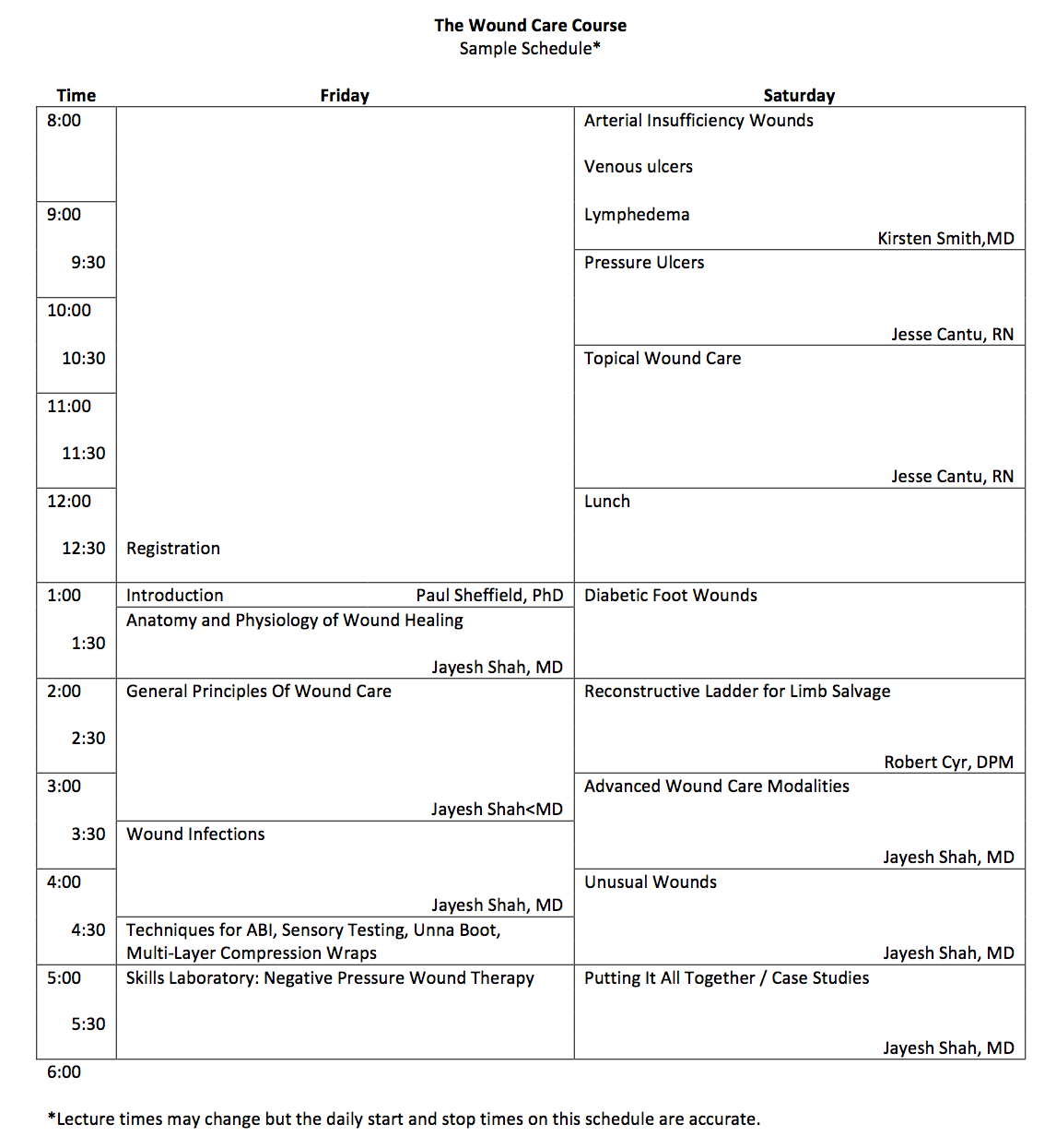 WCC Course Sample Schedule